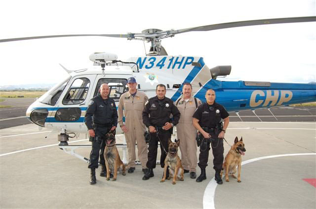 back row Richmond PD K9 Officers Avila, Palma and Mandell with CHP pilots, front row Richmond PD K9 Bosco, Ronin and Rasp all protected by K9 Armor as they fly to your rescue!