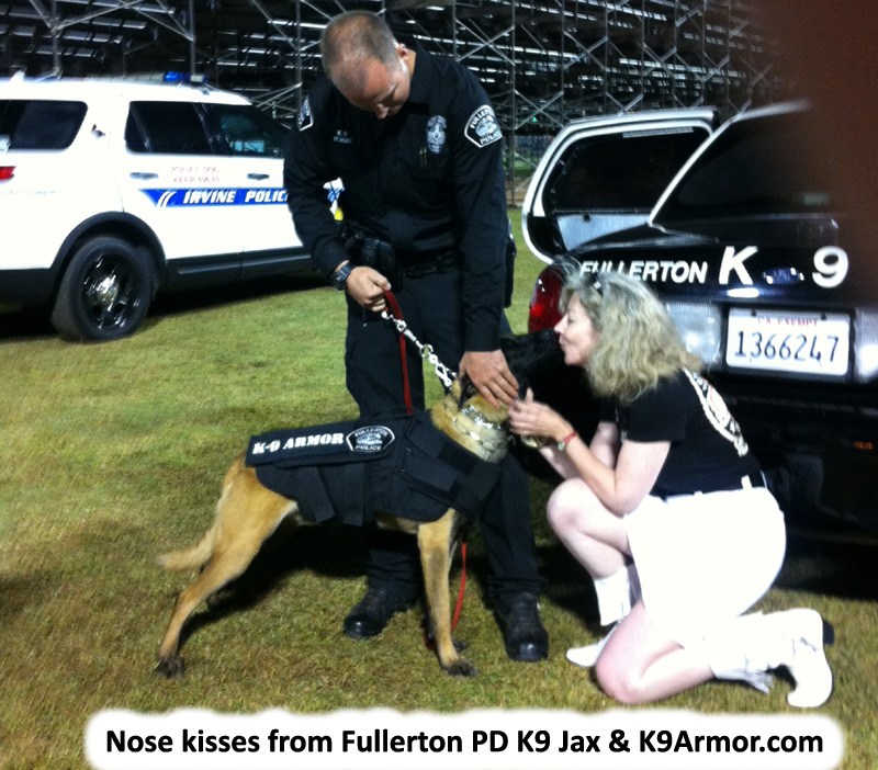 Nose kisses from Fullerton PD K9 Jax and K9 Armor.com