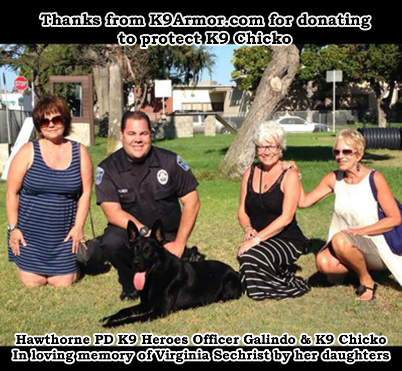 Officer Galindo with K9 Chicko and the daughters of Virginia Sechrist who donated to protect the K9 Heroes of Hawthorne.