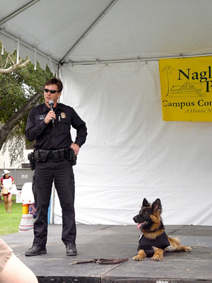 U.S. Park Police Officer Pat Smith and K-9 Hunter at Bark in the Park 2004