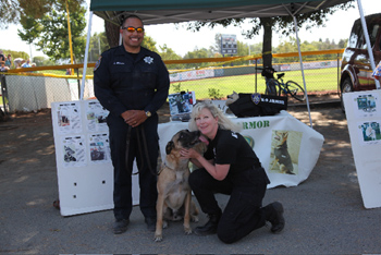 SFCCPD Officer Joey Fiscal, K9 Aries and K9 Armor CoFounder Suzanne Saunders