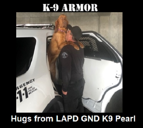 Hugs from LAPD Gang and Narcotic Division Detective Patrick Foreman and K9 Pearl. Donate to protect all five of their K9 Heroes