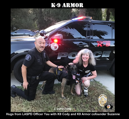 Hugs from LA School PD K9 Officer Yau with K9 Cody and K9 Armor cofounder Suzanne