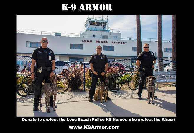 Long Beach Police Officer Dominguez and K9 Amigo and Officer McCart and K9 Kala and Officer Bruyere and K9 Kiss