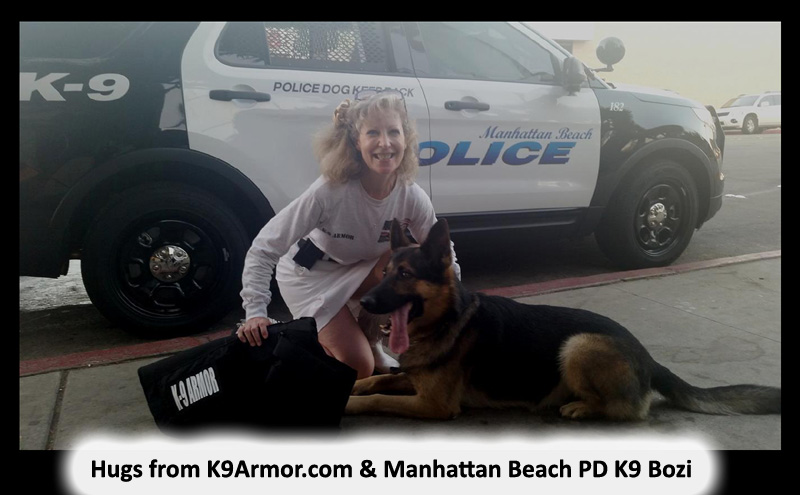 Manhattan Beach PD K9 Bozi with K9 Armor cofounder Suzanne