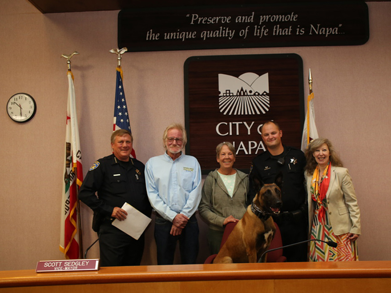 Napa Police Chief Potter, Thomas and Sheri Hundley of Napa, Napa PD K9 Rocky & Officer Brett Muratori and K9 Armor cofounder Suzanne Saunders