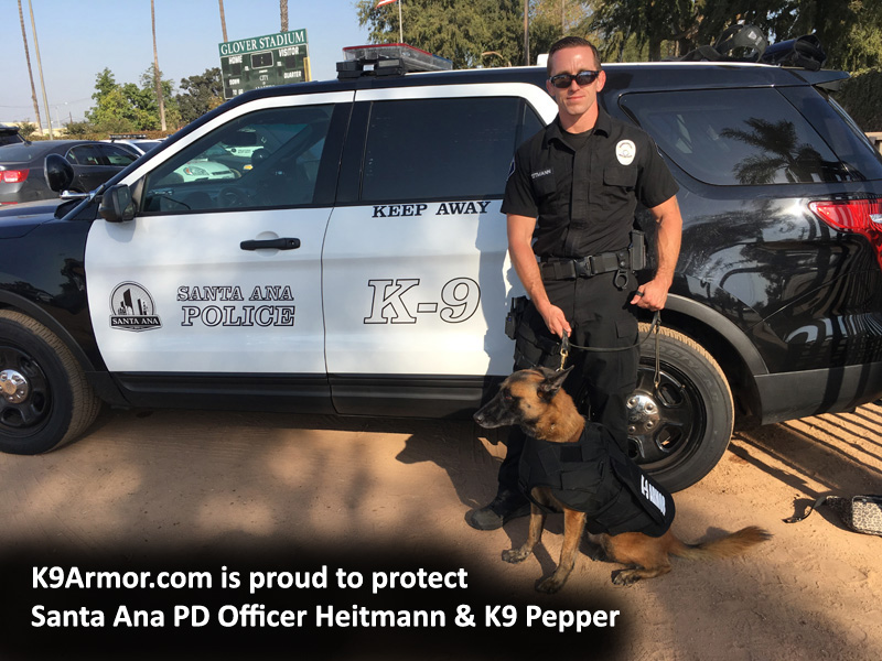 We protected K9 Heroes Santa Ana PD Officer Heitmann and K9 Pepper with a K-9 Armor vest