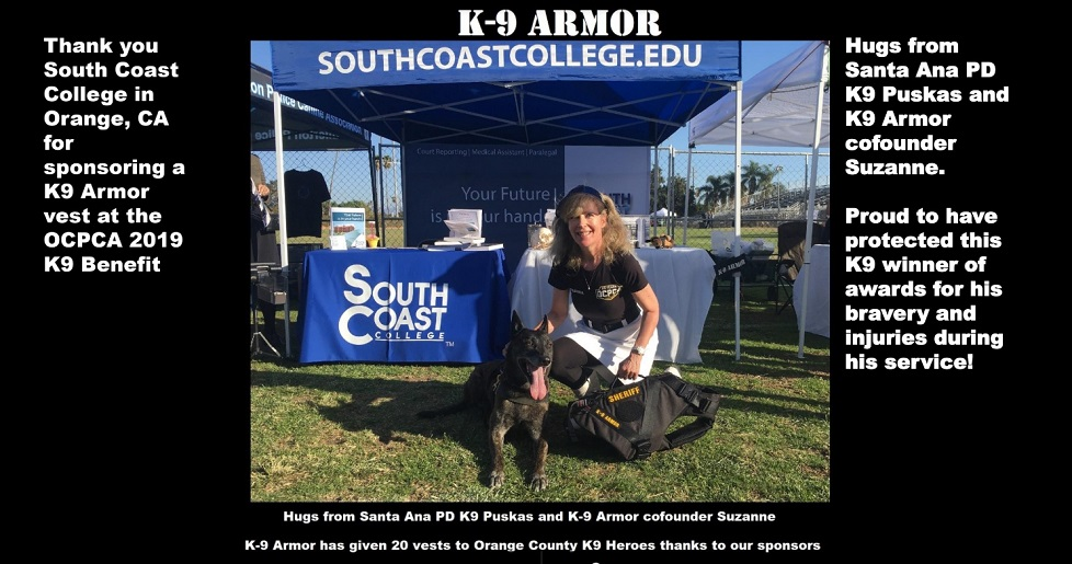 Hugs from Santa Ana PD K9 Puskas and K9 Armor cofounder Suzanne Saunders at OCPCA 2019 Benefit show