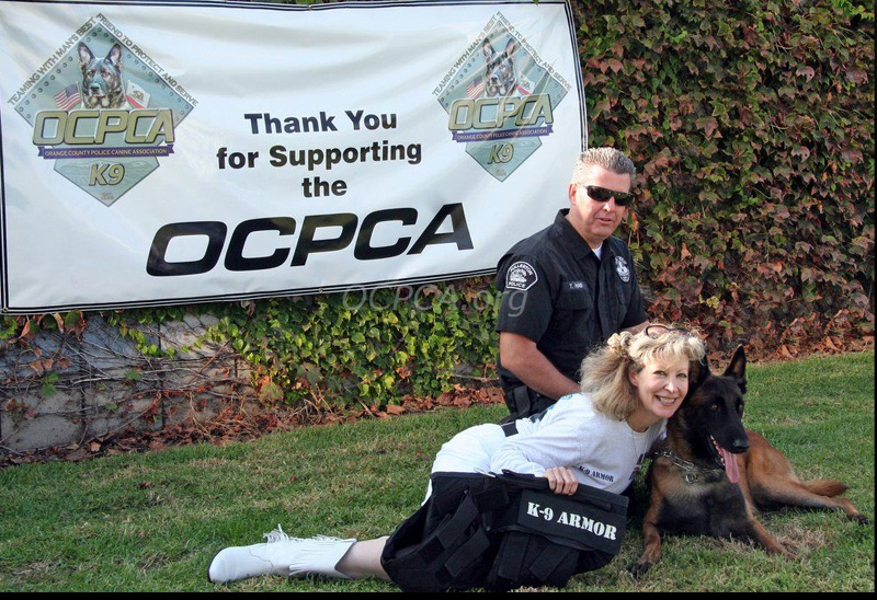 Fullerton PD Officer Tim Haid with K9 Rotar and K9 Armor cofounder Suzanne Saunders