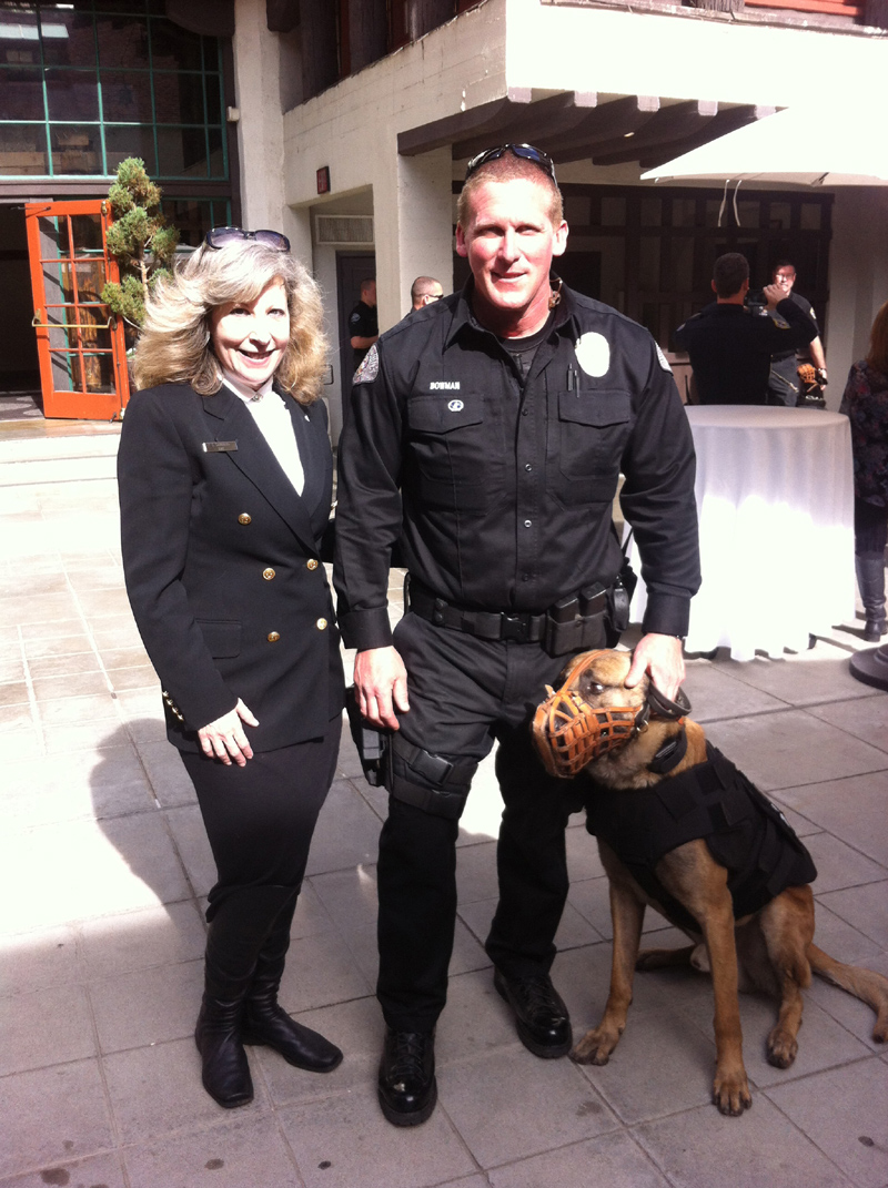 K9 Armor Cofounder Suzanne Saunders with West Covina PD Officer Matt Bowman and K9 Rec