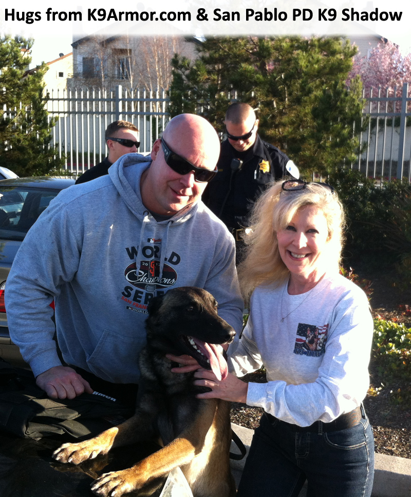 San Pablo PD K9 Heroes Shadow & Officer Niemi with K-9 Armor Cofounder Suzanne Saunders