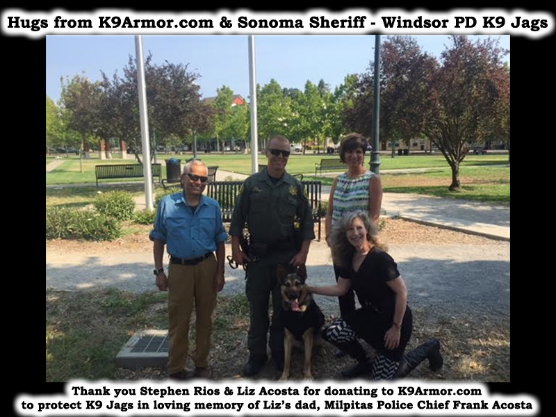 Pictured back row L-R Stephen Rios, Sonoma Sheriff - Windsor PD Deputy Brian Parks and Liz Acosta, front row K9 Jags & K9 Armor cofounder Suzanne Saunders
