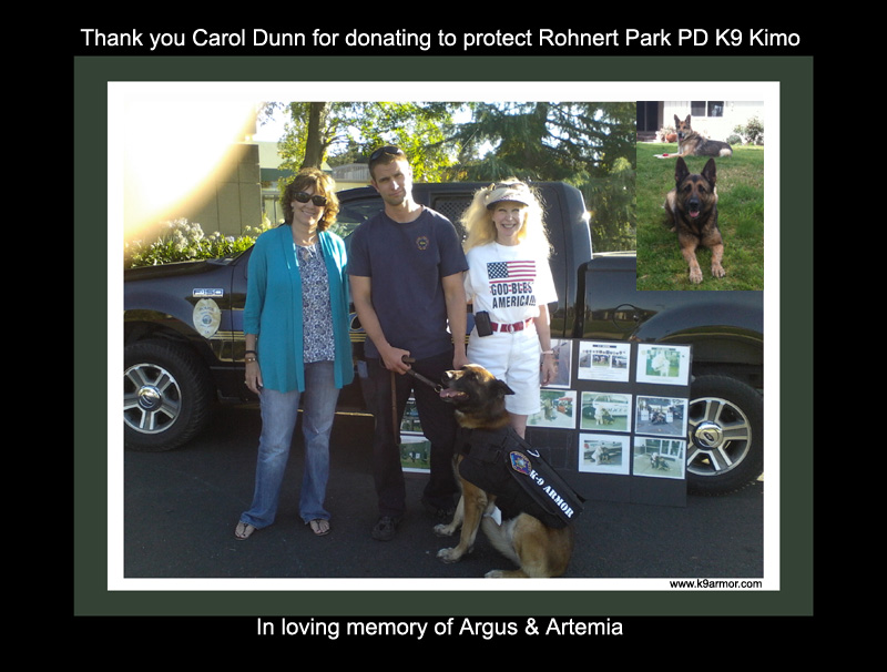 Rohnert Park PD K9 Kimo wears his K-9 Armor vest thanks to a donation by Carol Dunn pictured left with Officer Matt Snodgrass and K9 Armor Co-Founder, Suzanne Saunders