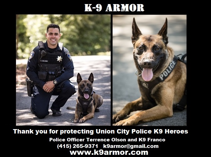 K-9 Armor is proud to protect Union City Police K9 Franco
